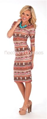 Mocha & Coral Aztec Print Pencil Dress. they sell the necklace and shoes too!