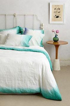 Dip-dyed ombré linen duvet cover and pillowcases in turquoise - Sol Linen Bedding Bed Sets, Home Bedroom, Bedroom Decor, Bedrooms, Bedroom Furniture, Furniture Sets, Diy Interior, Interior Design, Diy Inspiration