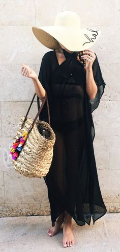 #spring #outfits  Beach Hat & Black Maxi Dress & Beach Tote Bag