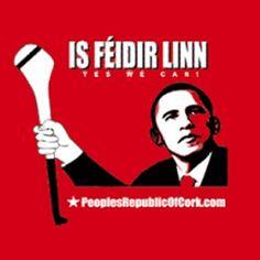 Yes we can!  Obama hurler.   Gaeilge Irish Language, European Languages, Obama, Celtic, Ireland, Jokes, School, Fun, Husky Jokes