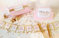 Pink & Gold birthday decorations - free printables/svgs