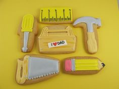 Father's Day Tool Cookies - The Art of the Cookie Man Cookies, Cut Out Cookies, Cute Cookies, Cupcake Cookies, Iced Sugar Cookies, Royal Icing Cookies, Tool Cake, Cookie Videos, Biscuits