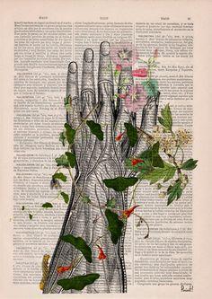 Wall art print Human hand with flowers Anatomy Print on dictionary Anatomy art, love art, human art, wall decor art print SKA092