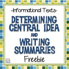 Nonfiction - Central Idea and Writing Summaries {FREE} These easy-to-use graphic organizers align directly with and and are ready to go {FREE!} for your classroom! Summary Writing, Expository Writing, Essay Writing, Persuasive Essays, Argumentative Essay, Reading Lessons, Writing Lessons, Teaching Reading, 8th Grade Ela