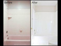 Bathroom tub tile diy how to paint 24 best ideas Clean Bathtub, Bathtub Tile, Bathtub Refinishing Kit, Bathtub Makeover, Pink Tub, Pink Bathtub, Small Bathroom, Bathroom Ideas, Ideas