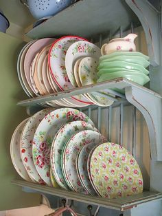 Plate rack from the old farm house....love this idea too I luv luv luv all the mismatched plates