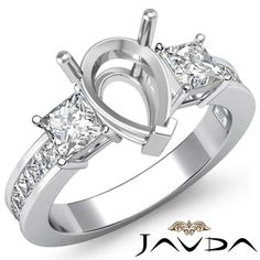 Three 3 Stone Diamond Wedding Ring 14k White Gold Princess Pear Semi Mount 1 1ct | eBay