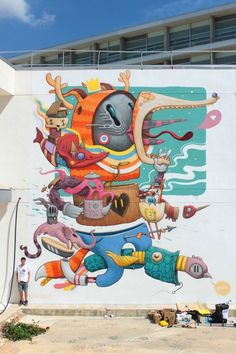 Street art work 'bipolar' by dulk mural painting уличное иск Street Art Love, Urban Street Art, Best Street Art, Amazing Street Art, Street Work, Banksy, Grafitti Street, Murals Street Art, Mural Painting