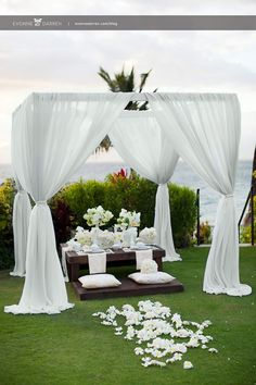 I love the soft, wafting curtain look 20 Pure White Wedding Decor Ideas for Romantic Wedding