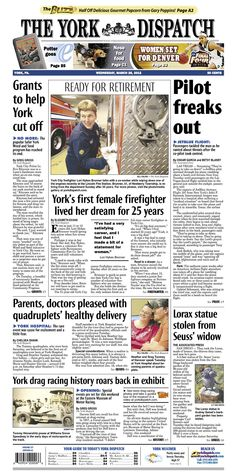 Front page of the York Dispatch for March 28, 2012.