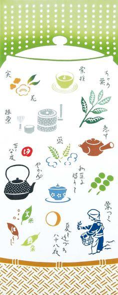 【日本製】伝統の「注染」で染め上げた手ぬぐい!。[気音間]手ぬぐい 日本茶【夏・お茶・緑茶・食べ物・急須(きゅうす)・やかん・海外へのお土産・日本手拭い・手ぬぐい専門店】