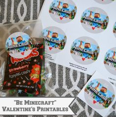 "Free download; ""Be Minecraft"" Valentine's Day printable stickers or tags; just pop on a clear bag of candy and you're set!  