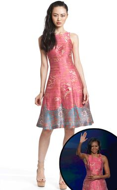 The fashionable first lady looks stunning in a Tracy Reese custom creation at the Democratic National Convention.