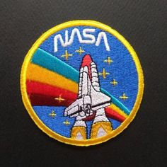 Nasa Space Shuttle Rainbow Astronaut Iron On Patch Pin And Patches, Iron On Patches, Embroidery Patches, Hand Embroidery, Nasa Patch, Doodle Characters, Space Projects, Cute School Supplies, Patch Design