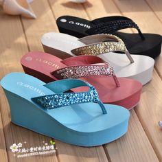 bd6198bc5 Summer paillette platform wedges flip flops shoes female sandals  high-heeled sandals fashion Platform Flip