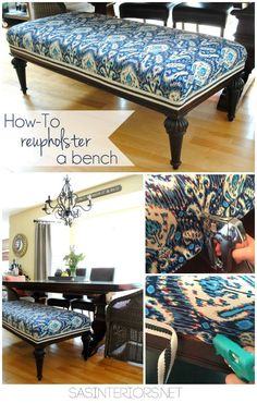 DIY: How-To Reupholster a bench (+ tips on keeping the original bench in tack without ruining it). DIY: How-To Reupholster a bench (+ tips on keeping the original bench in tack without ruining it). Refurbished Furniture, Repurposed Furniture, Furniture Makeover, Living Room Upholstery, Upholstery Trim, Upholstery Cleaning, Home Confort, Home Interior, Interior Design
