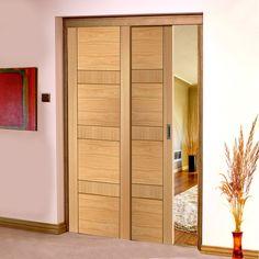 Easi-Slide OP3 Oak Latina Flush Sliding Door System in Three Size Widths. #flushoakroomdividers #internalslidingdoors #easislidesoakdoors