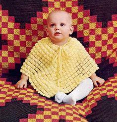 Yellow Baby Poncho Vintage Crochet