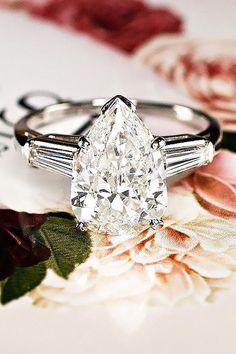33 The Most Beautiful Gold Engagement Rings ❤️ gold engagement rings pear three stone white gold ivyandrosevintage ❤️ See more: http://www.weddingforward.com/gold-engagement-rings/ #weddingforward #wedding #bride