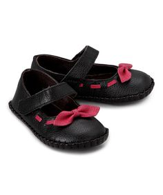 Look at this L'Amour Shoes Black & Pink Bow Leather Mary Jane on #zulily today!