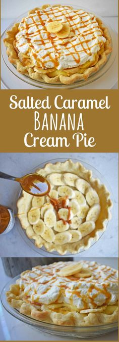 Salted Caramel Banana Cream Pie by Modern Honey. Made with vanilla pastry cream, fresh bananas, handcrafted salted caramel, fresh whipped cream, all on a buttery flaky pie crust.