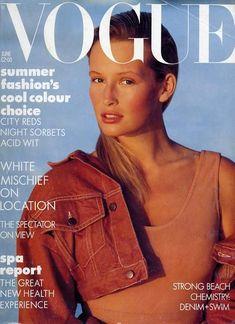 UK VOGUE, 1987. Model: Estelle Lefebure. Short Jeans Jacket.