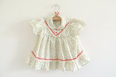 Vintage Baby Girl Colorful Flower Print Red Ric Rac Dress Sundress Pinafore Summer Photo Prop Baby Toddler Clothes Infant size 3-9 months on Etsy, $17.00