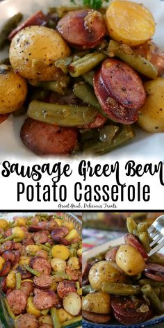 Sausage Green Bean Potato Casserole is loaded with sausage kielbasa, green beans, potatoes and seasoned perfectly. Sausage Green Bean Potato Casserole is loaded with sausage kielbasa, green beans, potatoes and seasoned perfectly. Slow Cooking, Cooking Recipes, Comfort Food Recipes, Budget Recipes, Family Recipes, Pork Recipes, Healthy Recipes, Recipes With Kielbasa, Bratwurst Recipes