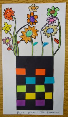 Art in the Big Green Room: kindergarten flower weavings