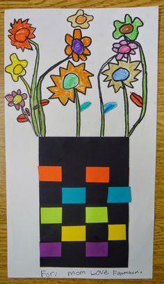 Art in the Big Green Room: kindergarten flower weavings