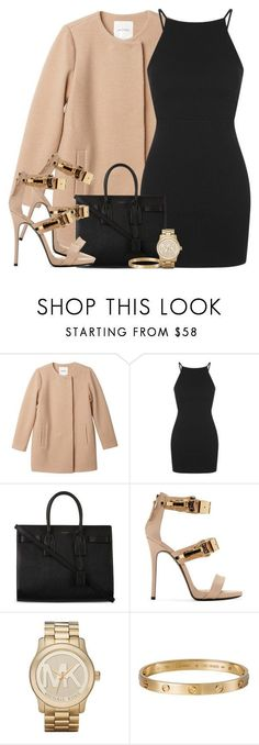 """Untitled #286"" by daisym0nste ❤ liked on Polyvore featuring Monki, Topshop, Yves Saint Laurent, Giuseppe Zanotti, Michael Kors and Cartier"