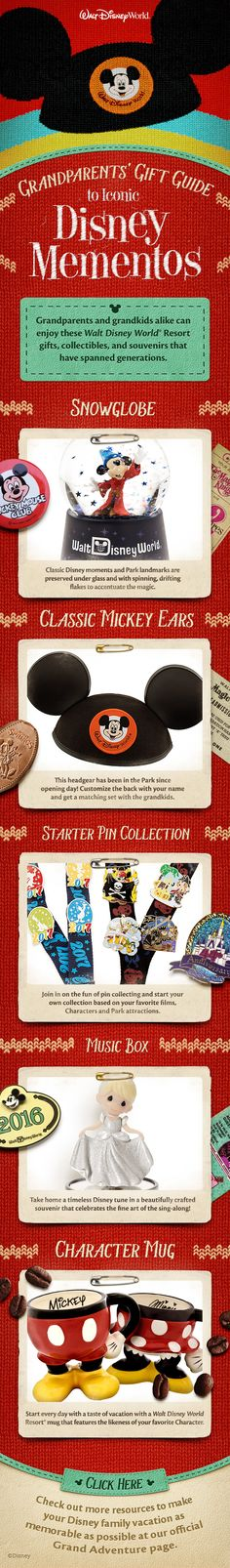 Grandparents and grandkids alike can enjoy these Walt Disney World Resort gifts, collectibles, and souvenirs that have spanned generations!
