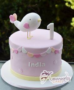 Two tier Bird Cake- - Amarantos Cakes 1st Birthday Cake For Girls, Funny Birthday Cakes, Pink Birthday Cakes, Baby Girl Cakes, Cake Baby, Little Mermaid Cakes, Cool Cake Designs, Bird Cakes, Cake Decorating Tutorials