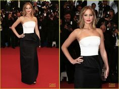 More black and white trend! Now, is Jennifer Lawrence wearing a Christian Dior dress in Cannes