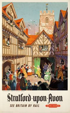 1950 Stratford upon Avon, see Britain by rail, British railways, Shakespearian comedy at the old falcon, UK vintage travel poster