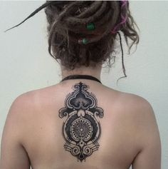Psychedelic Tribal Back Tattoo.  #tattoo #dotwork #mandala #backtattoo #psychedelic