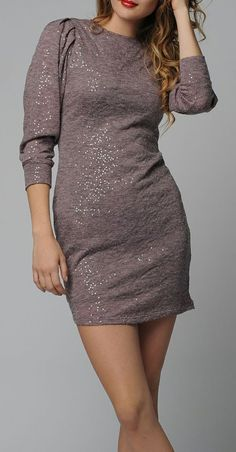 Pink Sequin Puff-Sleeve Sheath Dress