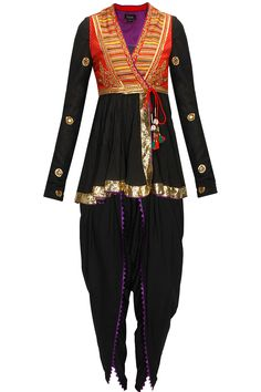 TISHA SAKSENA Black cotton kedia with dhoti and embroidered red koti available only at Pernia's Pop-Up Shop.