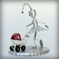 Leuckit  Just a Walk in the Park -robot art sculpture-ooak kitchen robot. $175.00, via Etsy.