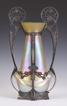 Monumental Art Nouveau Loetz Gold Iridescent Vase