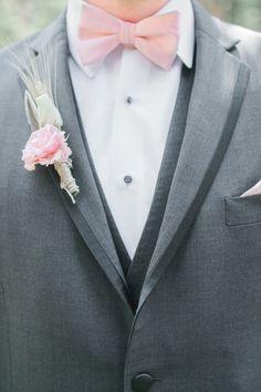 Pink bowtie & boutonniere combo: http://www.stylemepretty.com/arizona-weddings/greer/2015/09/14/rustic-romantic-arizona-summer-wedding-2/ | Photography: Andrew Jade - http://andrewjadephoto.com/