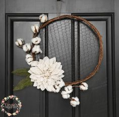 Chicken Wire Wreath, Burlap Dahlia Flower with Cotton Picks, Rustic Hoop Wreath, Farmhouse Wreath by VirgiesTreasures on Etsy