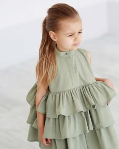 Nala Tiered Bubble Dress Fits true to size Polyester, Cotton Two amazing colors Button front design Sleeveless Tiered ruffle design. Teenage Girl Outfits, Little Girl Outfits, Little Girl Fashion, Kids Fashion, Fashion Outfits, Fall Outfits, Summer Outfits, Hot Topic Clothes, Baby Girl Dresses
