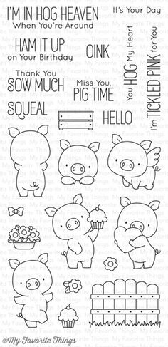 MFT STAMPS: Hog Heaven x Clear Photopolymer Stamp Set) This package includes Hog Heaven, a 23 piece set including: Pigs 1 x 1 x 1 x 1 1 x 1 x Fence 1 x 1 Step x Pot of flowers x Cupcake x Bow x F Doodle Drawings, Doodle Art, Mft Stamps, Clear Stamps, Embroidery Patterns, Coloring Pages, Colouring, Doodles, Clip Art