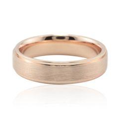 Brushed Men's Wedding Band 5mm Square Edge Design in Rose Gold - LS3809