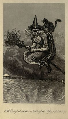 Old image of witch riding her broom backwards with her cat. EDIT: Not technically backwards, this was the direction they believed witches flew their brooms at a point in time :)