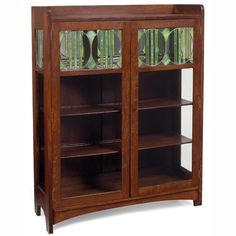 """Arts & Crafts china cabinet, two-door form with leaded glass panels at top, refinished, replaced back, 44""""w x 15.5""""d x 58.5""""h, very good condition"""