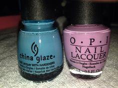 Mani pedi color combos. Opi Lucky Lucky Lavender & China Glaze Flyin' High. Purple Blue Nailpolish nails natural nails Nail Color Combinations, China Glaze, Mani Pedi, Natural Nails, Opi, You Nailed It, Nail Colors, My Nails, Ongles