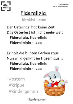 """""""Fiderallala"""" - Easter song - Kitakiste """"Fiderallala"""" - Osterlied after the famous bird wedding melody, simple but sweet - 2 chords - great for the crib, but also Kitakinder have their fun Preschool Garden, Preschool Crafts, Diy Crafts For Kids, Adverb Activities, Kindergarten Activities, Easter Presents, Easter Gift, Easter Songs, Jade"""