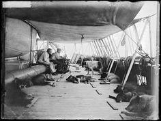Roald Amundsen and Martin Rønne, onboard the Fram, on the way to Antarctica.
